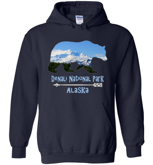 Graphics Inspire - Denali National Park Alaska in Grizzly Bear Navy Hoodie