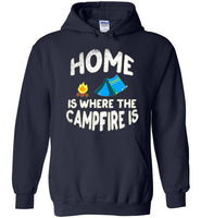 Graphics Inspire - HOME Is Where The CAMPFIRE IS Funny Tent Camping Distressed Navy Hoodie