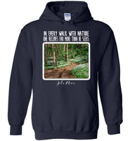 Graphics Inspire - In Every Walk with Nature One Receives Far More - John Muir Quote Floral Trail Navy Hoodie