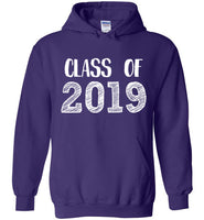 Graphics Inspire - Class of 2019 Graduation Hand Sketched Purple Hoodie
