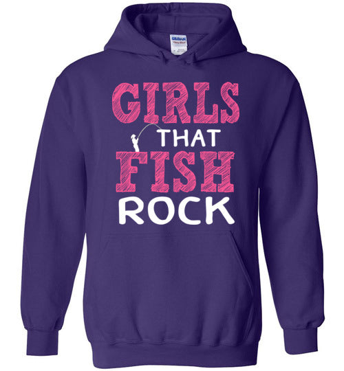 Graphics Inspire - Girls that Fish Rock Fun Fishing Purple Hoodie