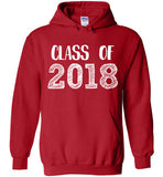 Graphics Inspire - Class of 2018 Graduation Hand Sketched Red Hoodie