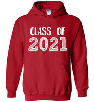 Graphics Inspire - Class of 2021 Graduation Hand Sketched Red Hoodie
