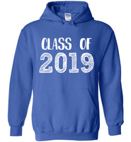 Graphics Inspire - Class of 2019 Graduation Hand Sketched Royal Blue Hoodie