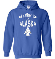 Graphics Inspire - I'd rather be in ALASKA - Arrowhead with State of Alaska Royal Blue Hoodie