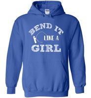 Graphics Inspire - Bend It Like A Girl Fun Fly Fishing Fly Rod Bent Royal Blue Hoodie