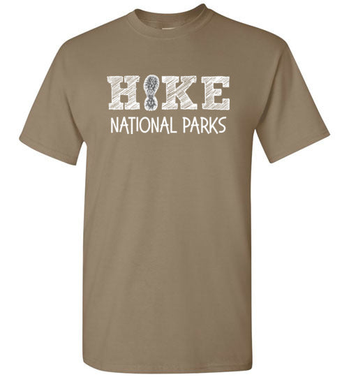 HIKE National Parks Hand Sketched Font Fun Hiker Brown Savana T-Shirt