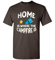 Graphics Inspire - HOME Is Where The CAMPFIRE IS Funny Tent Camping Distressed Dark Chocolate T-Shirt
