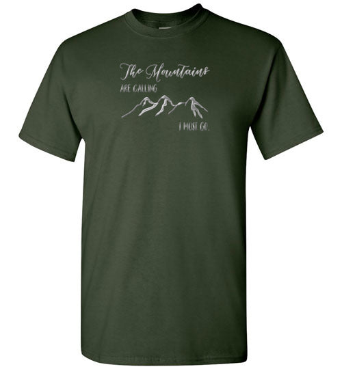 Graphics Inspire - The Mountains are Calling I Must Go Snowy Design Forest Green T-Shirt