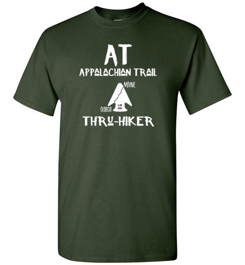 Graphics Inspire - AT Appalachian Trail Georgia to Maine Rustic Thru-Hiker Forest Green T-Shirt