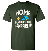 Graphics Inspire - HOME Is Where The CAMPFIRE IS Funny Tent Camping Distressed Forest Green T-Shirt