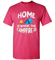Graphics Inspire - HOME Is Where The CAMPFIRE IS Funny Tent Camping Distressed Pink T-Shirt