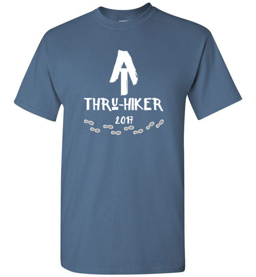 Graphics Inspire - AT Thru-Hiker Completed Appalachian Trail in 2017 Rustic Thru-Hiker Indigo Blue T-Shirt
