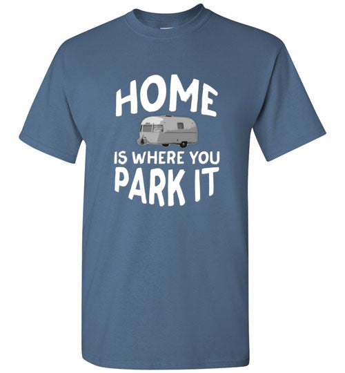 Graphics Inspire - HOME Is Where You Park It Funny Vintage RV Camping Indigo Blue T-Shirt