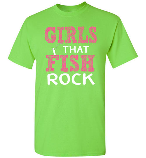 Graphics Inspire - Girls that Fish Rock Fun Fishing Lime Green T-Shirt