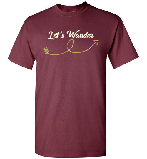 Graphics Inspire - Let's Wander Aimlessly Fun Arrow Wanderlust Maroon T-Shirt