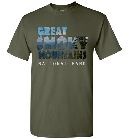 Graphics Inspire - Great Smoky Mountains National Park in Mountain Landscape Military Green T-Shirt