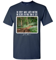 Graphics Inspire - In Every Walk with Nature One Receives Far More - John Muir Quote Floral Trail Navy T-Shirt