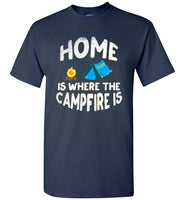 Graphics Inspire - HOME Is Where The CAMPFIRE IS Funny Tent Camping Distressed Navy T-Shirt