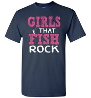 Graphics Inspire - Girls that Fish Rock Fun Fishing Navy T-Shirt