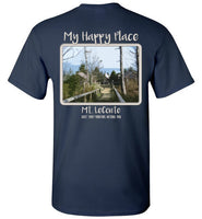 Graphics Inspire - Mt. LeConte is My Happy Place Great Smoky Mountains National Park T-Shirt (printed on the back)