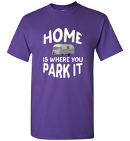 Graphics Inspire - HOME Is Where You Park It Funny Vintage RV Camping Purple T-Shirt
