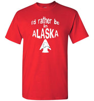 Graphics Inspire - I'd rather be in ALASKA - Arrowhead with State of Alaska Red T-Shirt