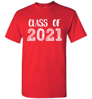 Graphics Inspire - Class of 2021 Graduation Hand Sketched Red T-Shirt