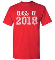 Graphics Inspire - Class of 2018 Graduation Hand Sketched Red T-Shirt