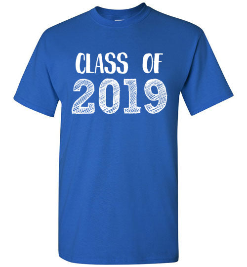 Graphics Inspire - Class of 2019 Graduation Hand Sketched Royal Blue T-Shirt