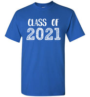 Graphics Inspire - Class of 2021 Graduation Hand Sketched Royal Blue T-Shirt