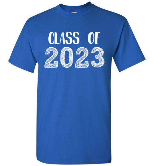Graphics Inspire - Class of 2023 Graduation Hand Sketched Royal Blue T-Shirt