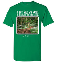 Graphics Inspire - In Every Walk with Nature One Receives Far More - John Muir Quote Floral Trail Turf Green T-Shirt