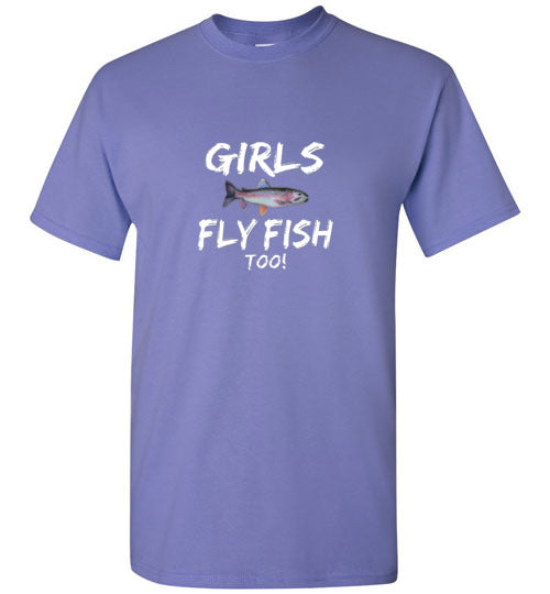 Graphics Inspire - Girls Fly Fish Too! Rainbow Trout Girls Fly Fishing Violet T-Shirt