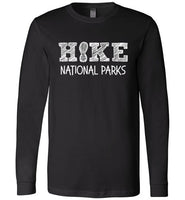 HIKE National Parks Hand Sketched Font Fun Hiker Premium Long Sleeve Black T-Shirt