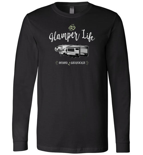 Graphics Inspire - Glamper Life Fifth Wheel RV Retired Backpacker Long Sleeve Premium T-Shirt