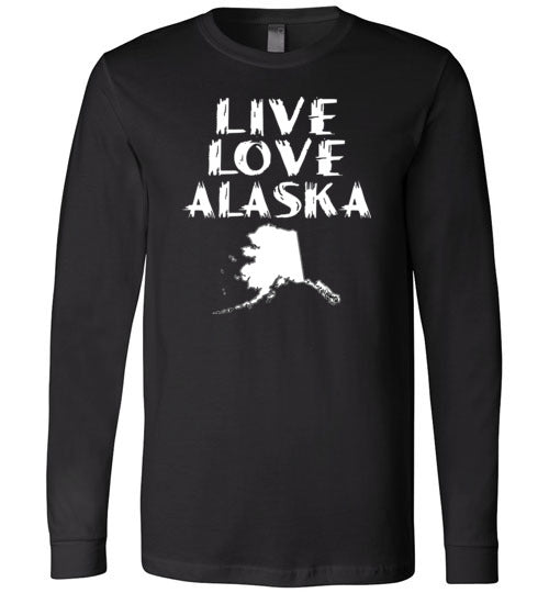 LIVE LOVE ALASKA State of AK Premium Long Sleeve Black T-Shirt