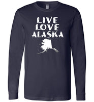 LIVE LOVE ALASKA State of AK Premium Long Sleeve Navy T-Shirt
