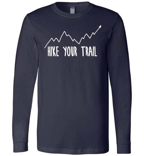 Hike Your Trail Up Arrow Simple Hiker's Premium Long Sleeve Navy T-Shirt