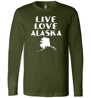 LIVE LOVE ALASKA State of AK Premium Long Sleeve Olive T-Shirt