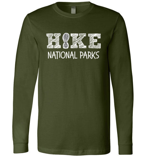 HIKE National Parks Hand Sketched Font Fun Hiker Premium Long Sleeve Olive T-Shirt