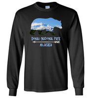 Graphics Inspire - Denali National Park Alaska in Grizzly Bear Long Sleeve Black T-Shirt