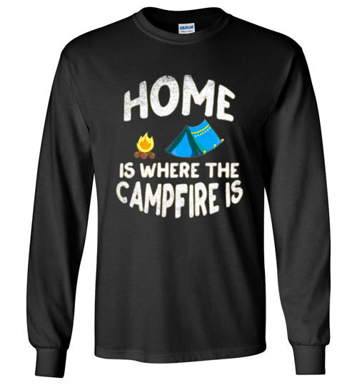 Graphics Inspire - HOME Is Where The CAMPFIRE IS Funny Tent Camping Distressed Long Sleeve Black T-Shirt