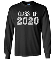 Graphics Inspire - Class of 2020 Graduation Hand Sketched Long Sleeve Black T-Shirt