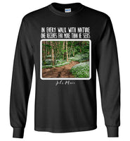 Graphics Inspire - In Every Walk with Nature One Receives Far More - John Muir Quote Floral Trail Long Sleeve Black T-Shirt