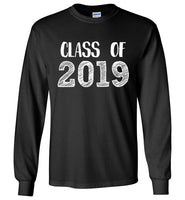 Graphics Inspire - Class of 2019 Graduation Hand Sketched Long Sleeve Black T-Shirt