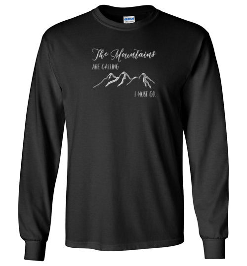 Graphics Inspire - The Mountains are Calling I Must Go Snowy Design Long Sleeve Black T-Shirt