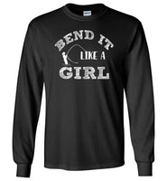 Graphics Inspire - Bend It Like A Girl Fun Fly Fishing Fly Rod Bent Long Sleeve Black T-Shirt