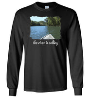 Graphics Inspire - The River is Calling from Kayak with fishing pole Angler's Long Sleeve Black T-Shirt