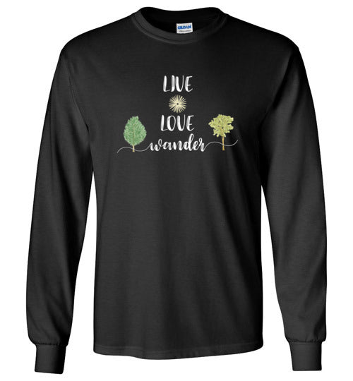 Graphics Inspire - LIVE LOVE Wander in Nature Wanderlust Long Sleeve Black T-Shirt